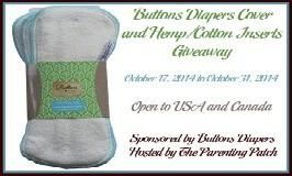 Buttons Diapers Cover & Hemp/Cotton Inserts #Giveaway