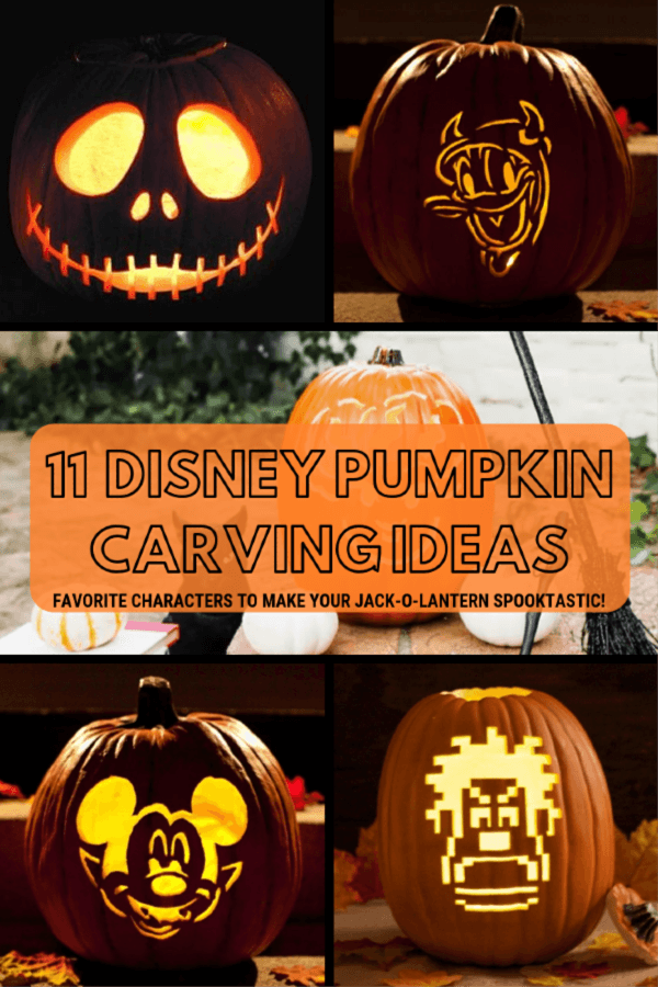 Disney Pumpkin Carving Ideas. Favorite characters to make your jack-o-lantern spooktastic! #Halloween #pumpkincarving #pumpkin #Disney