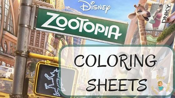 ZOOTOPIA Coloring Sheets (at least we can pretend it's warm, right?)