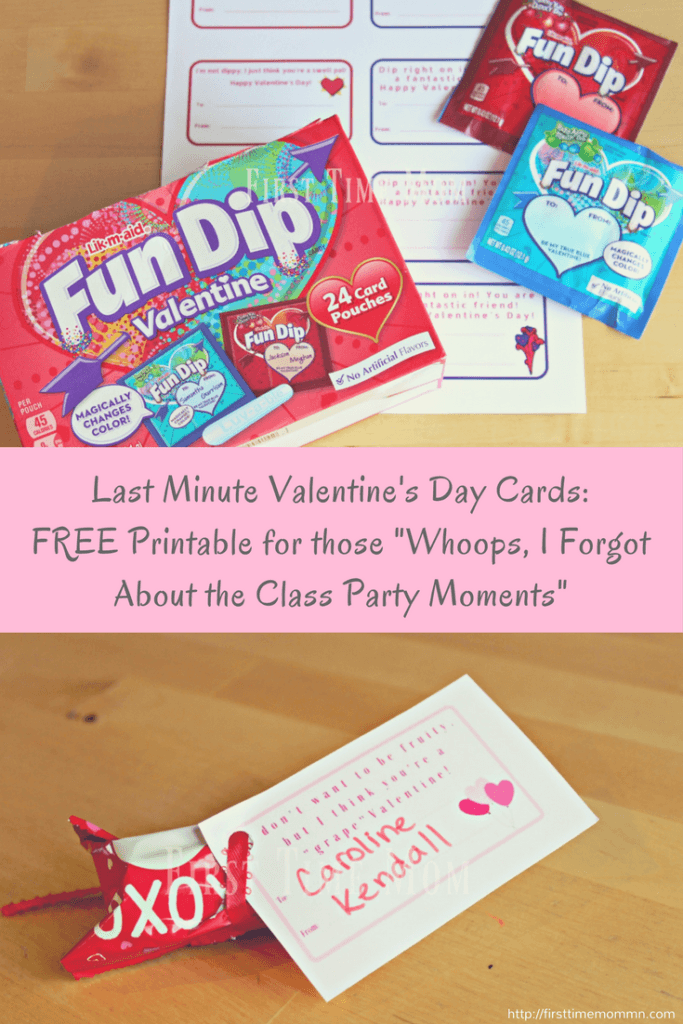 "Last Minute Valentine's Day Cards: FREE Printable for those ""Whoops, I Forgot About the Class Party"" Moment"
