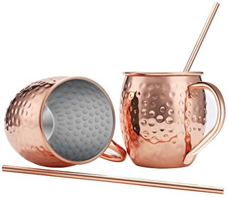 Two Moscow Mule Mugs, 16 oz with Rose Gold Steel Straws