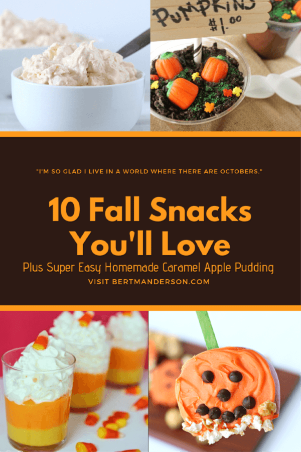 Who absolutely loves the fall_! I do! Here are 10 Fall Snacks you'll love plus super easy homemade caramel apple pudding. #halloweenfood #fallsnacks #fall #halloween