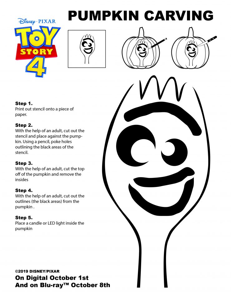 Forky Pumpkin Carving Stencil