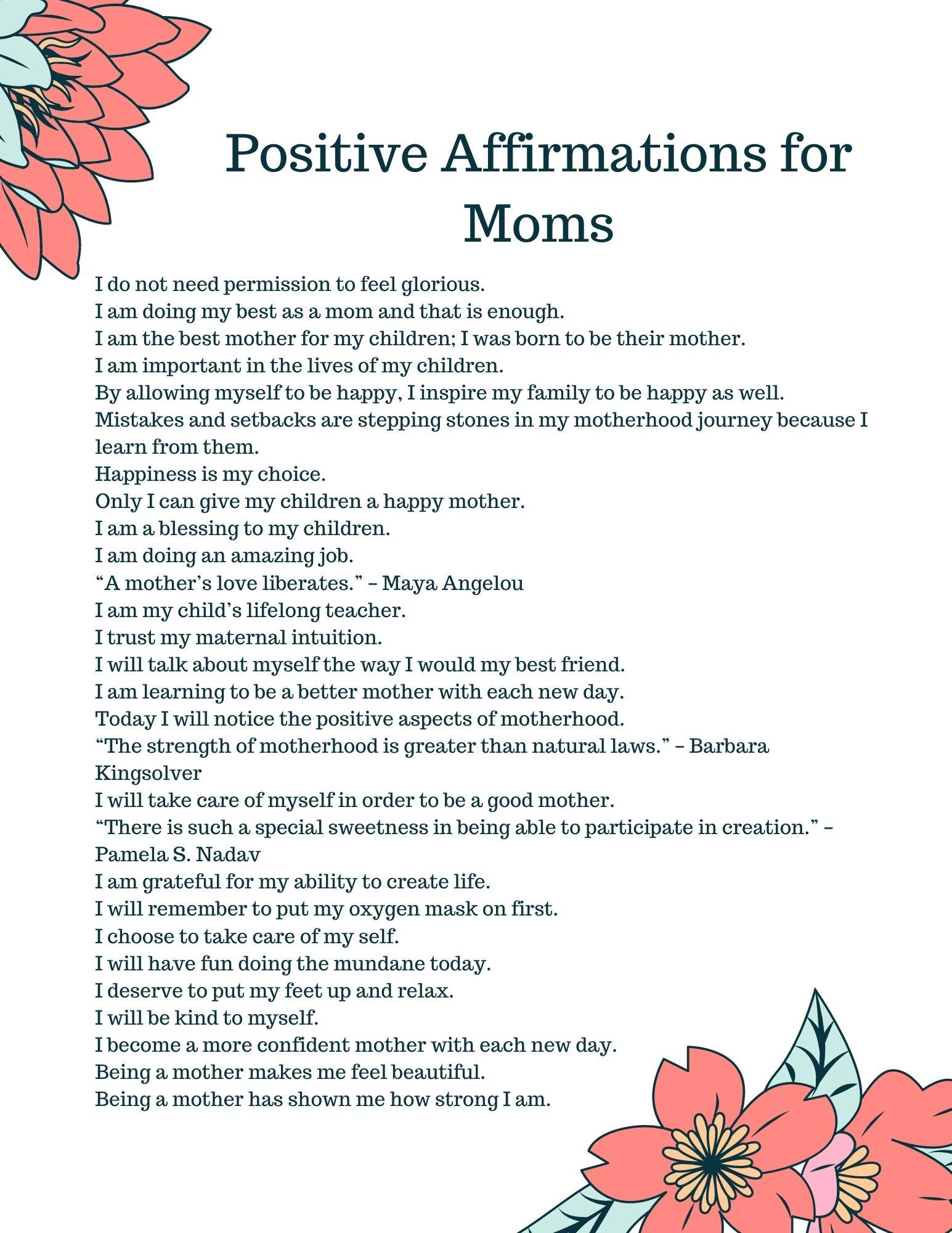 Positive Affirmations for Moms pg 1
