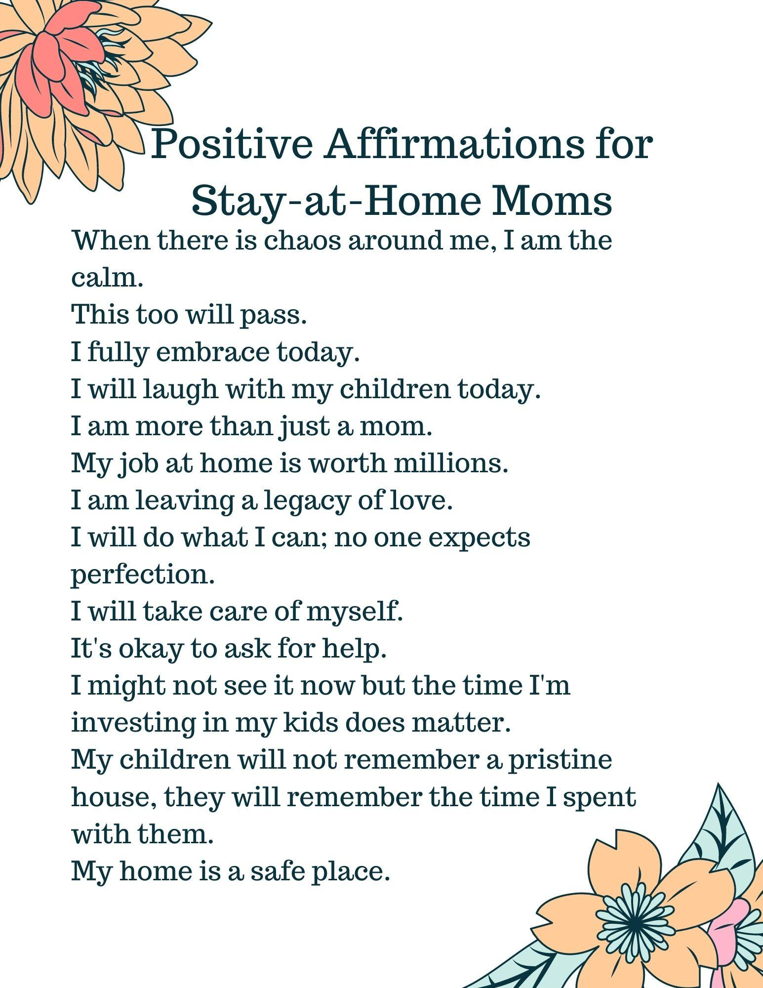 Positive Affirmations for Stay-at-Home Mom
