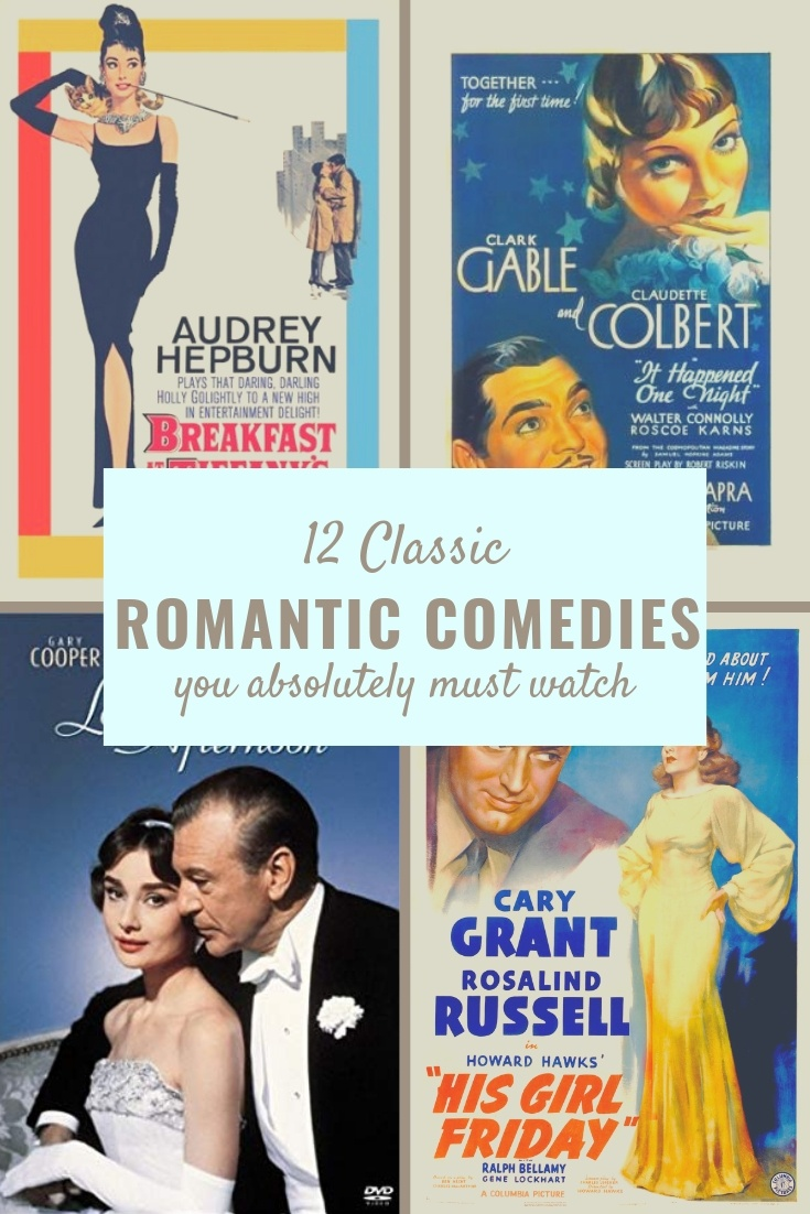 12 classic romantic comedies you absolutely must watch. Perfect list for Hollywood inspiration and girls night. #movies #romanticcomedies #romcom #hollywood #oldhollywood