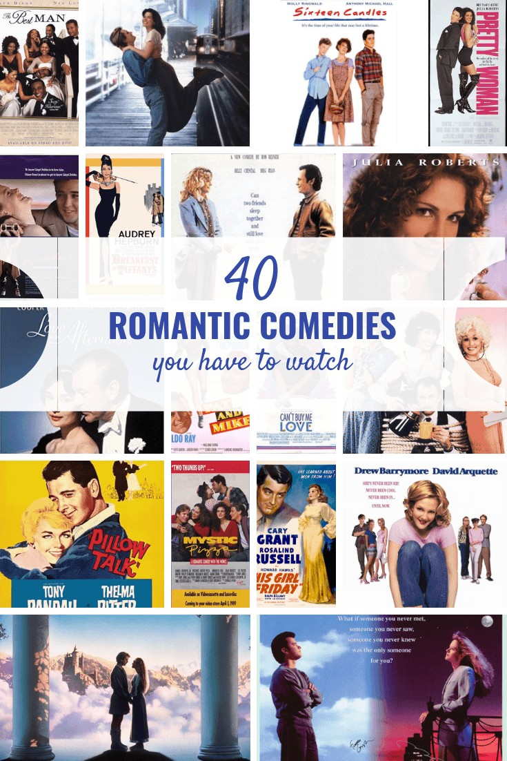 40 romantic comedies you have to watch! Perfect for a girls' night or a night home with a bucket of ice cream. #girlsnight #movies #romanticcomedies #entertainment