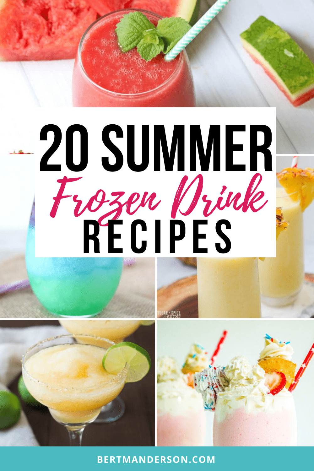 20 summer frozen drink recipes. Easy to make some kid-friendly and some boozy for the adults.