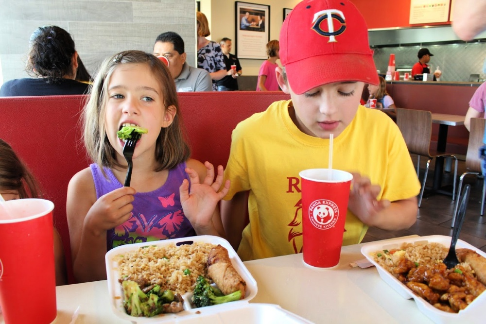 Kids eating at Panda Express