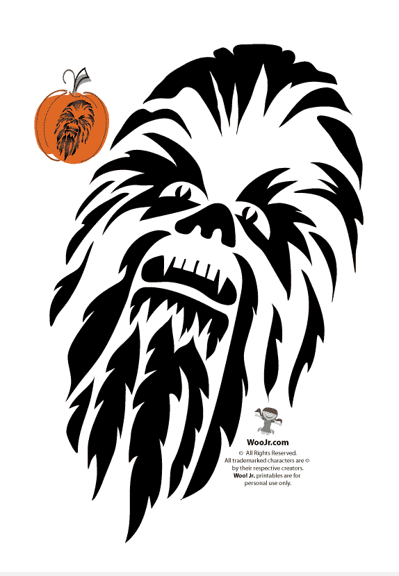 Chewbacca from Star Wars pumpkin carving stencil