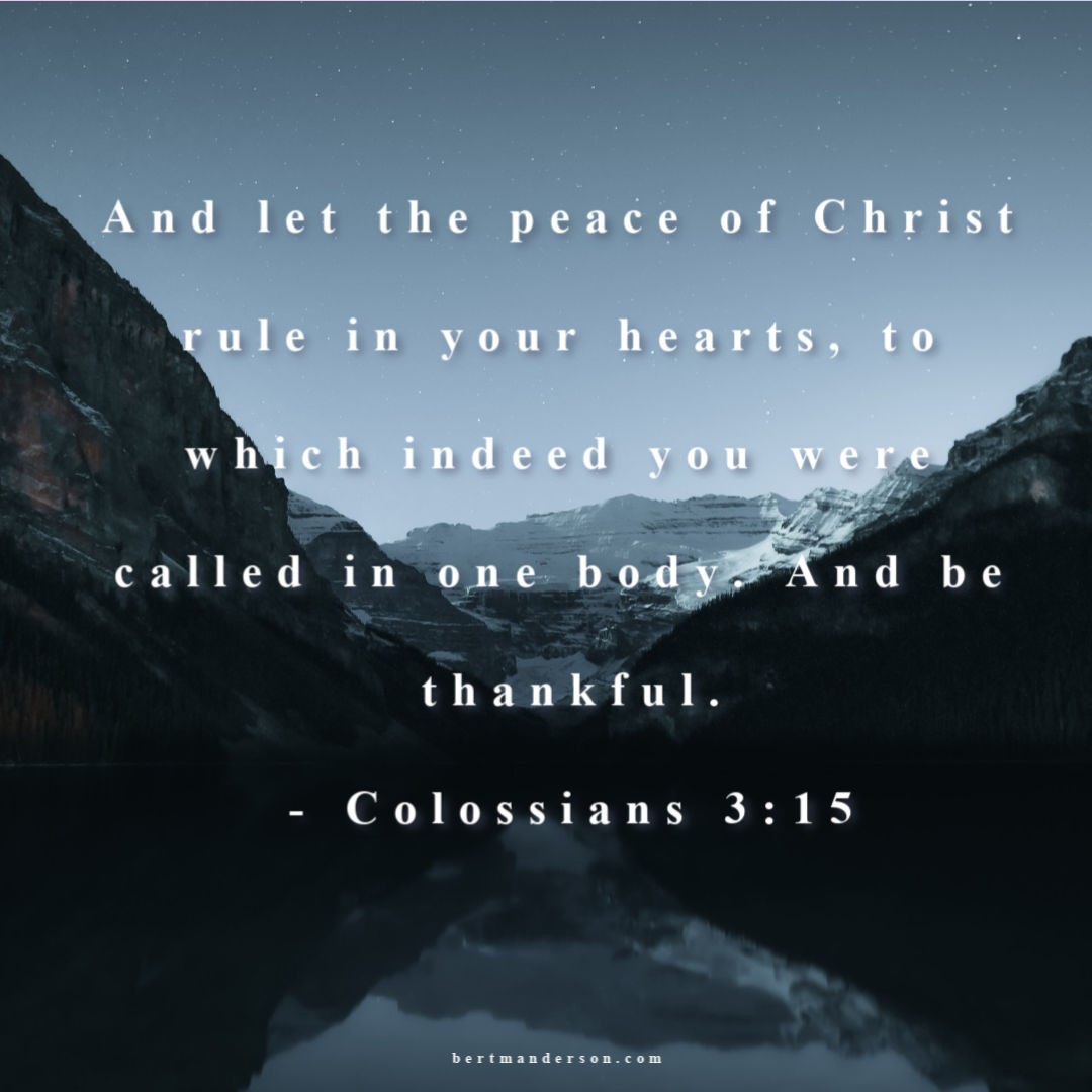 And let the peace of Christ rule in your hearts, to which indeed you were called in one body. And be thankful.- Colossians 3:15 Bible quotes about anxiety