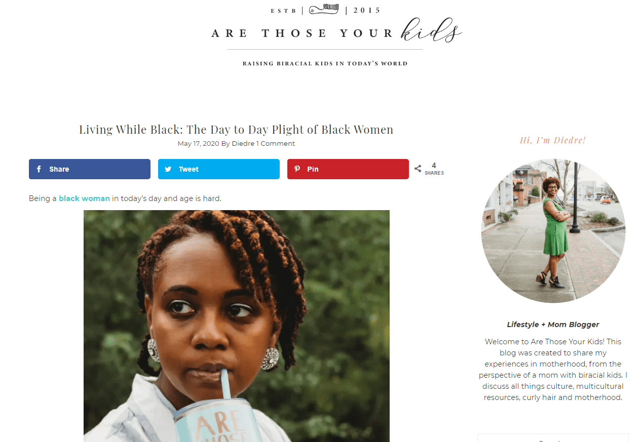 Picture of Are those your kids? blog home page. Black influencers to follow.