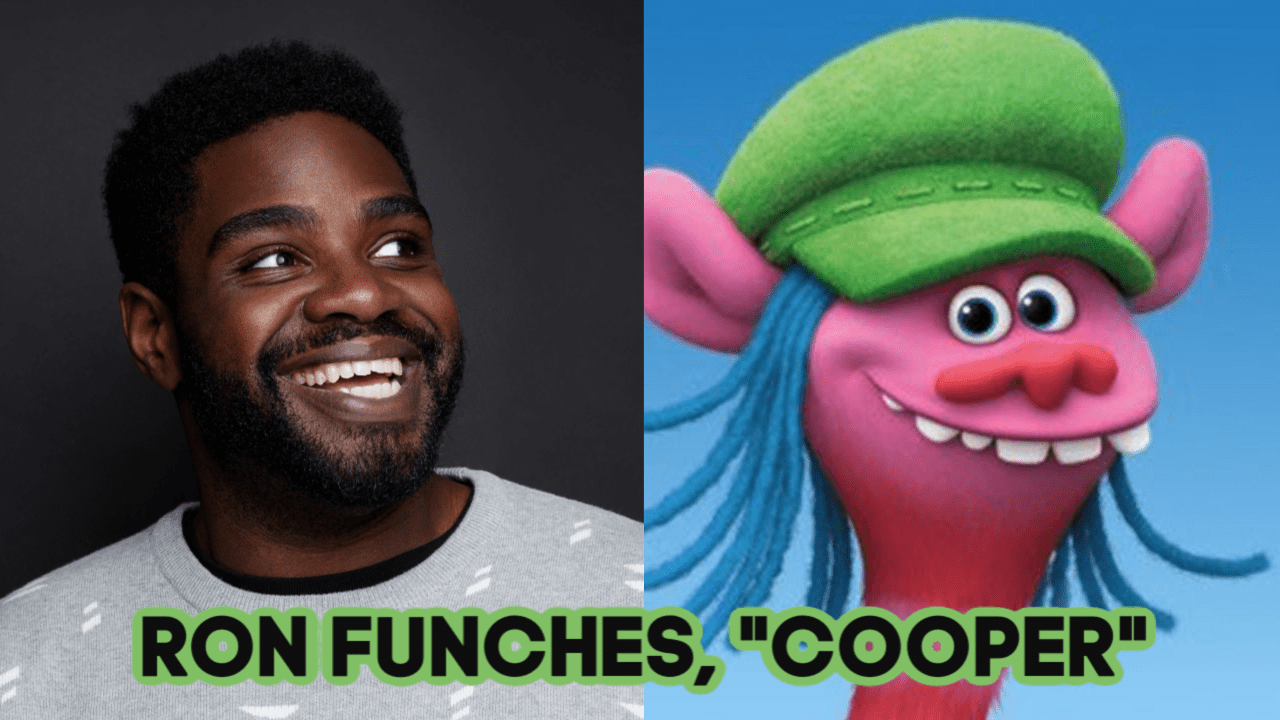 Ron Funches as the voice of Cooper, side by side photo, TROLLS WORLD TOUR
