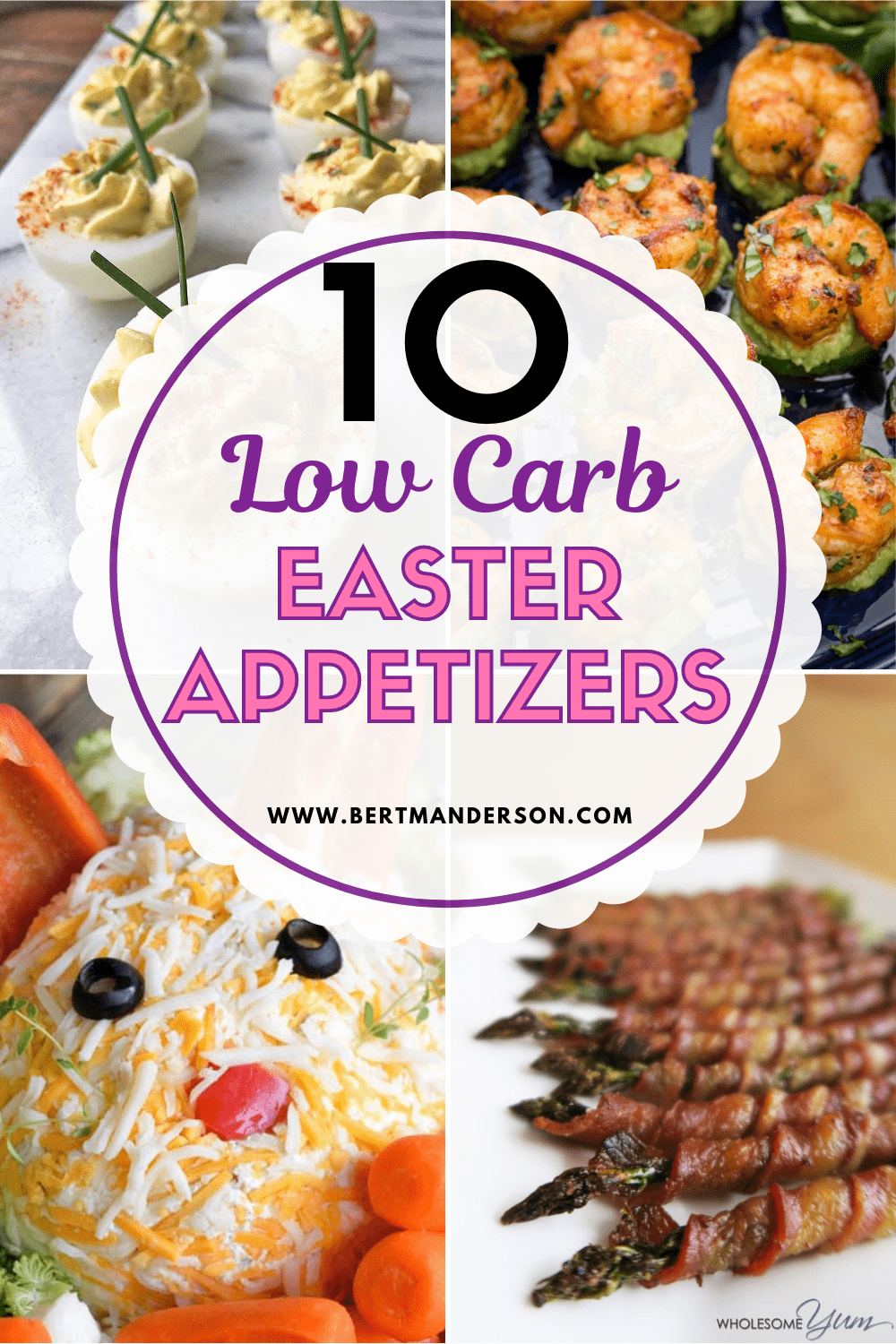 10 Low Carb Easter Appetizers - four images of low carb dishes