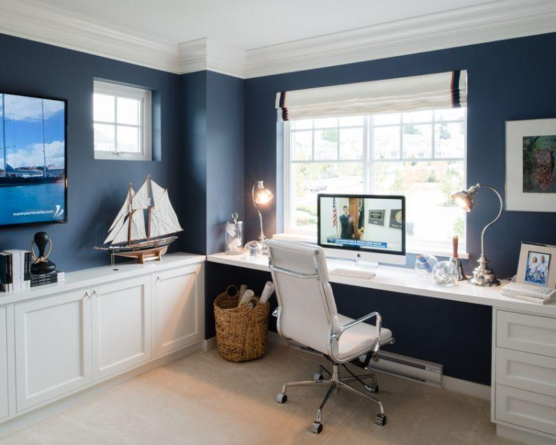 Example of blue walls, how to decorate my home office