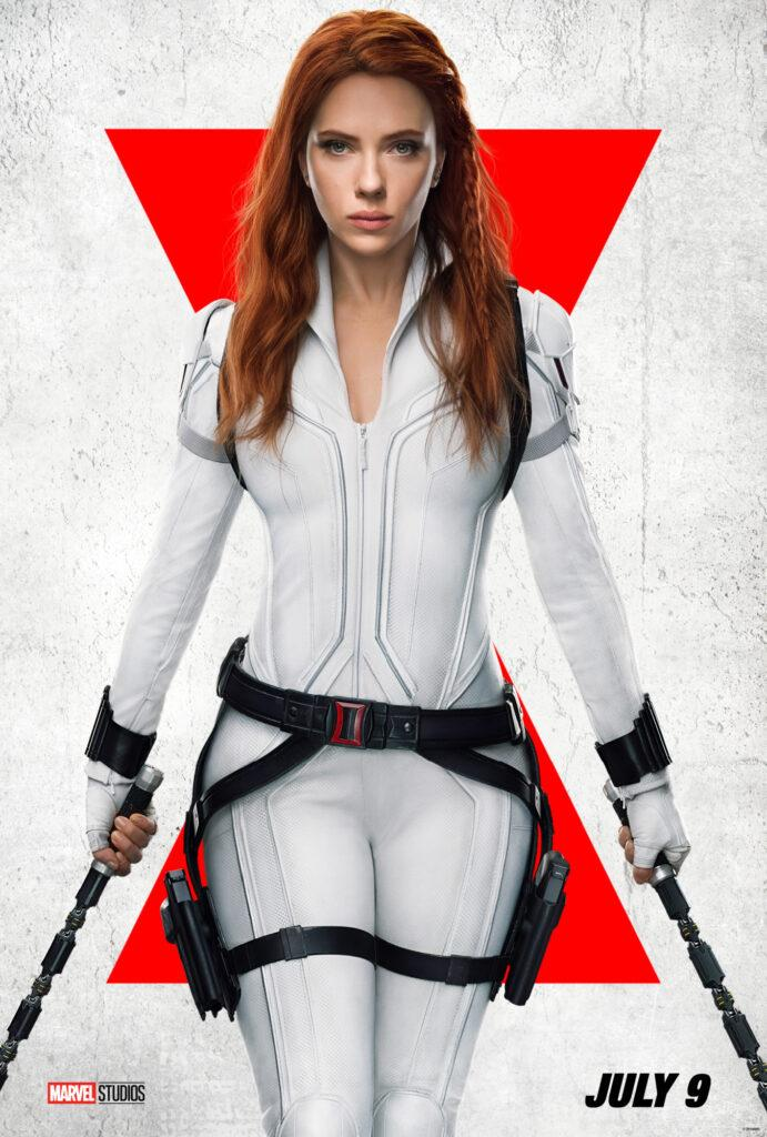 Black Widow movie poster with white background and red hour glass.