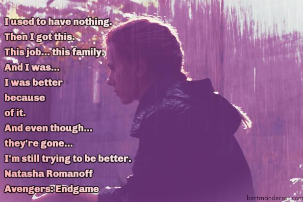 Black Widow quotes from Endgame. Natasha Romanoff sitting in the rain outside by a tree.