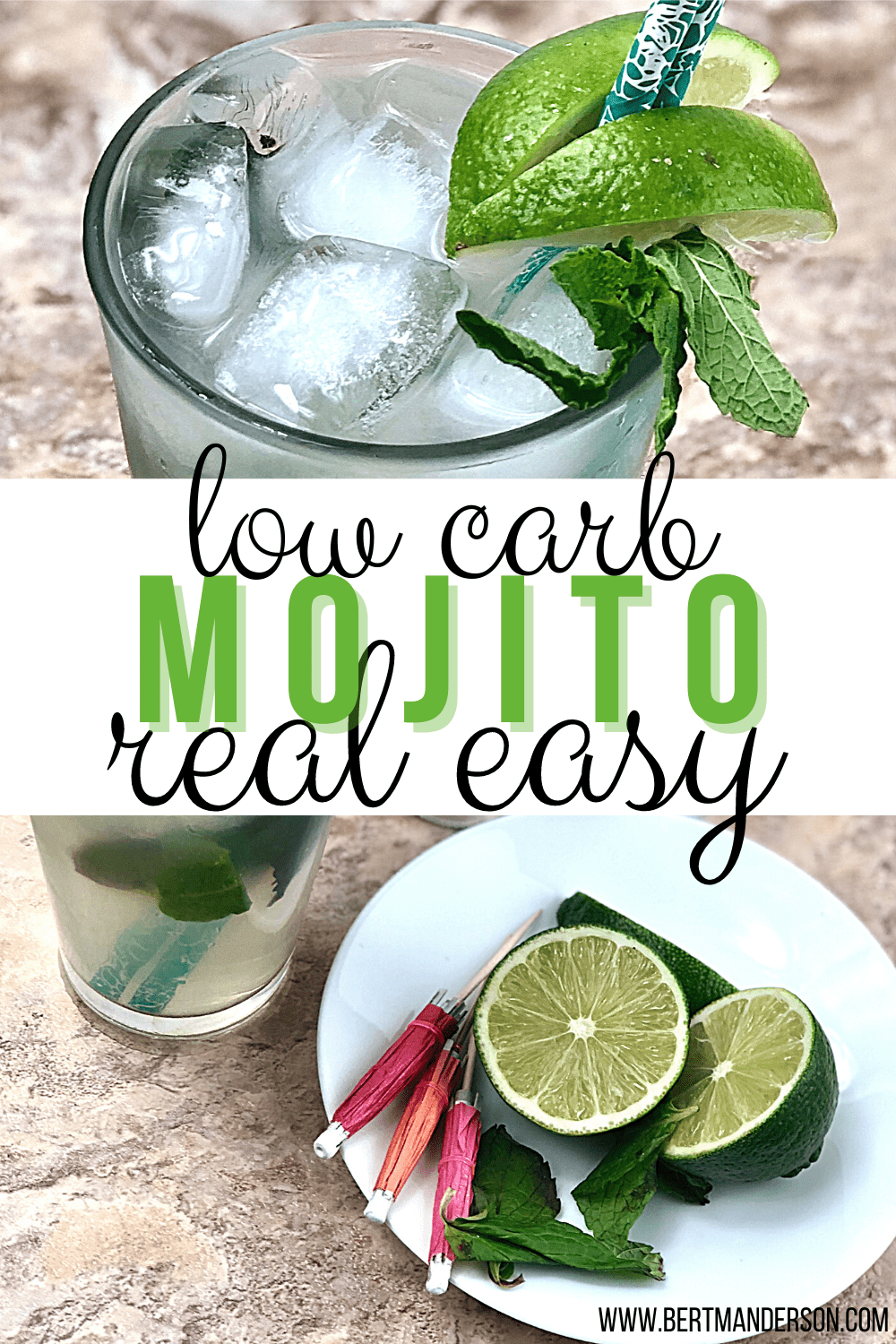 Real easy, low carb, keto-friendly Mojito, guaranteed to refresh you on a hot summer day. Picture of Mojito in a glass with straw umbrellas and limes